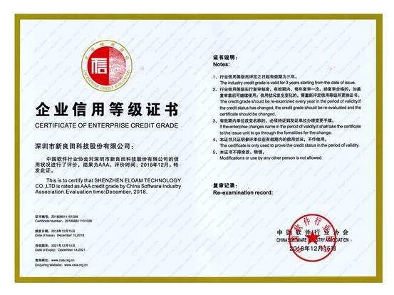 企业信用等级证书2018