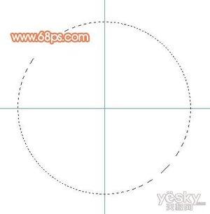 2,新建一个图层,选择椭圆选框工具,以参照线交点为圆心拉出图2所示