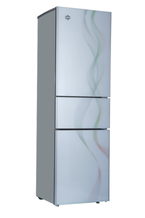 这两款冰箱采用韩版彩绘镭射幻彩无框玻璃