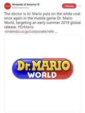 任天堂发布新手游《马里奥医生 世界》 支持iOS和安卓免费下载
