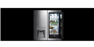LG智能冰箱植入黑科技:平时是电脑,敲击两下可变透明