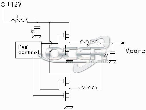 传统的pwm供电模块学名叫做buck降压斩波电路,是由电容,电感线圈和