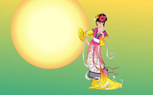 中秋节荧光屏手写图画设计图片展示