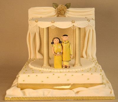 婚礼蛋糕上的浓情蜜意