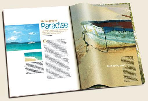 用海滩风景照片做杂志内页排版