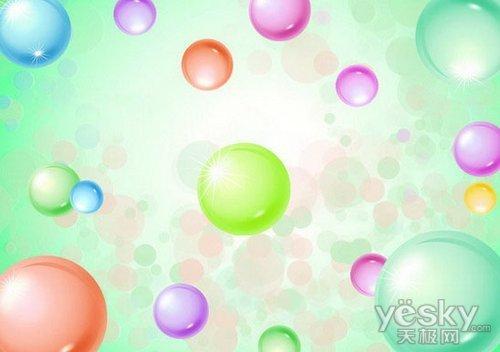 photoshop制作清新可爱的泡泡壁纸