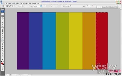 然后使用矩形选框工具,按下图创建选区,然后按ctrl   j复制选定图像的图片