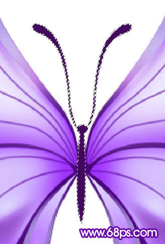Photoshop鼠绘梦幻色调的矢量风格蝴蝶