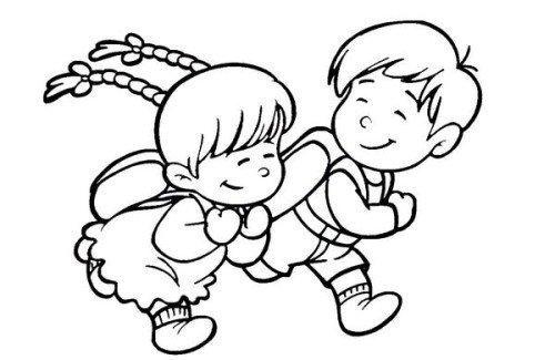 看到两名小孩在路边玩耍,担心遇到坏人,一名戴红领巾的小学生一路