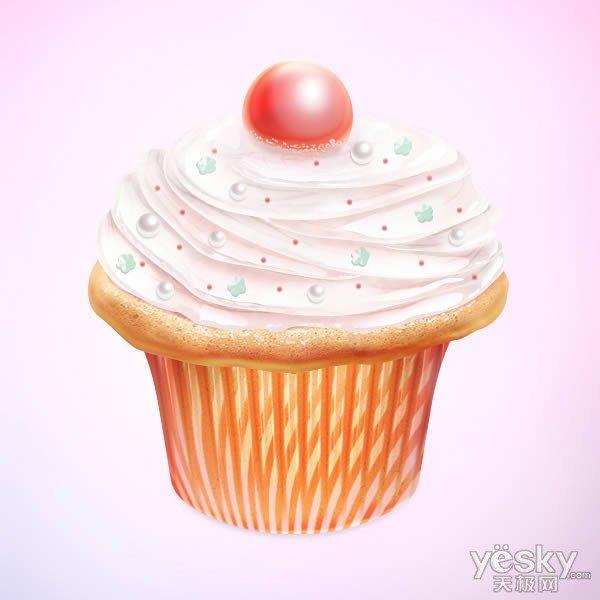 photoshop绘制矢量风格的立体效果纸杯蛋糕