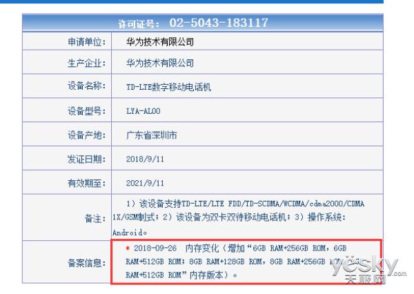 华为Mate 20系列入网:最高8GB内存+512GB存储,证件照暂未揭晓
