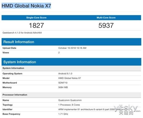 诺基亚X7跑分数据曝光:搭载骁龙710,成绩不俗