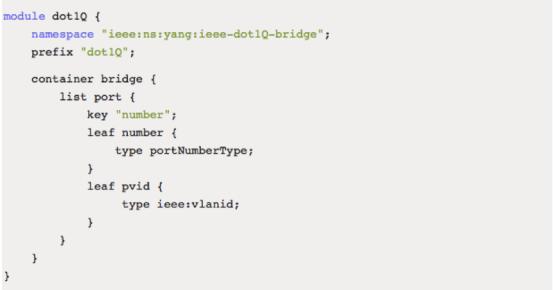一个yang module,如图六所示,定义了具有垂直结构的数据,这些数据可以
