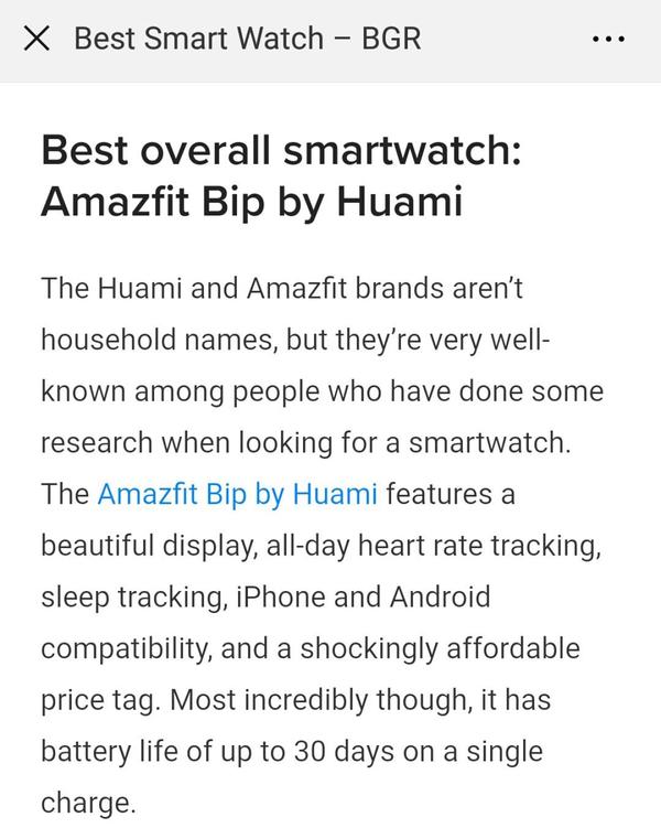 """国际科技媒体 BGR 将 Amazfit 米动手表青春版评为""""综合最佳智能手表"""""""
