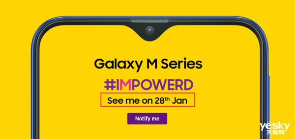 三星Galaxy M系列1月28日在印度发布:水滴屏+Type-C快充+大电池