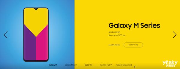 官宣:三星Galaxy M系列采用水滴屏设计