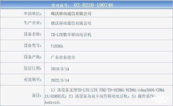 疑似vivoX27 Pro现身工信部 搭载6.72英寸极致全面屏
