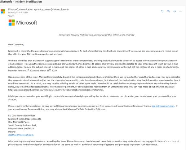 微软Outlook遭用户入侵长达近3个月 波及人数未知