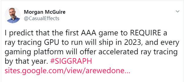 NVIDIA:首个硬件光追的3A游戏将在2023年发售