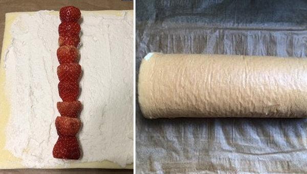 极客美食:松软香甜―电蒸箱草莓戚风蛋糕卷
