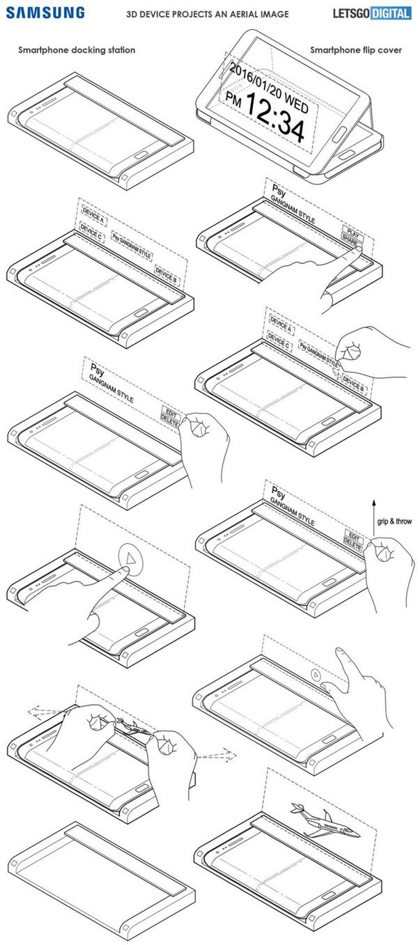三星扩展坞专利曝光 将2D图像转为全息投影
