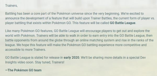《Pokémon Go》将于2020年初支持在线战斗功能