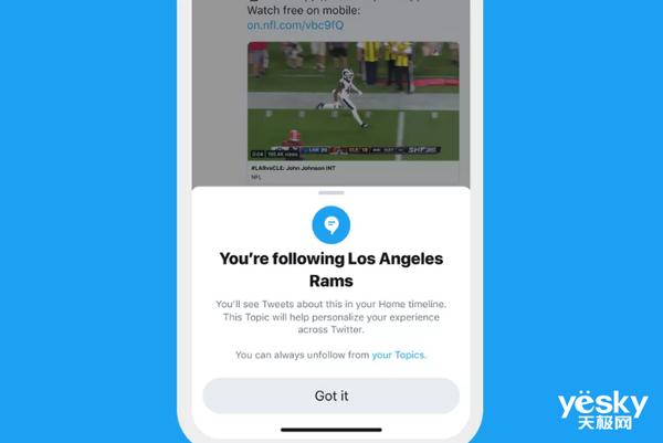 Twitter推出新功能 用户可以关注超过300个领域话题
