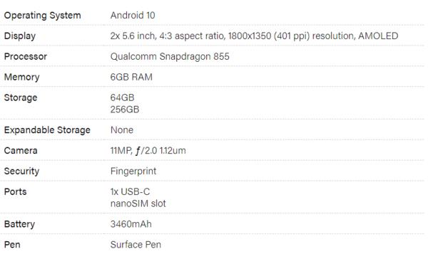微软Surface Duo双屏手机规格曝光:依旧骁龙855处理器,