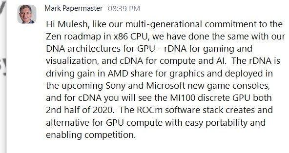 AMD官宣CDNA架构计算卡 下半年与安培竞争