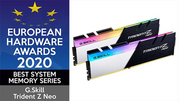 芝奇连续 5年蝉联 EHA 欧洲电脑硬件大赏年度风云內存系列
