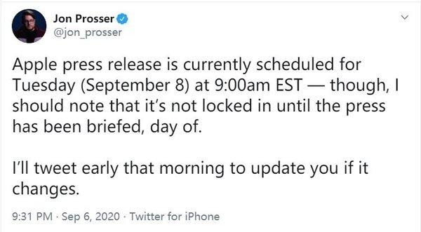 消息称苹果9月8日宣布大事:iPhone 12、新iPad发布时间要来了