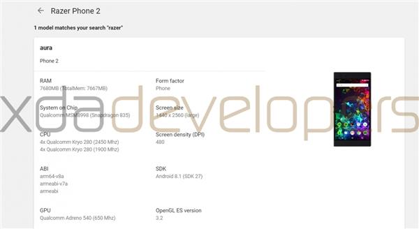 Google Play认证:雷蛇Razer Phone 2将搭载骁龙835芯片