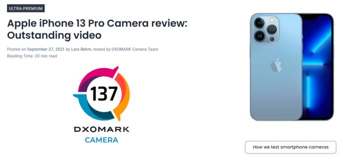 iPhone 13系列DXO相机评分出炉 13 mini比肩12 Pro Max