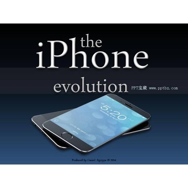 iphone6手机蓝黑科技手感ppt模板